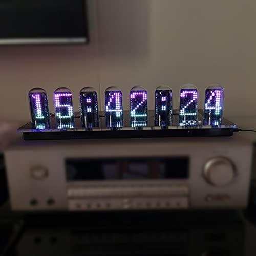 AqGwfcH Tube Clock, LED Nixie Clock, Analizador Espectro Musical con 1024 Leds, 64 Colores Modo Espectro Audio, para Coches Decoración Salas Juegos Mesas Estudios de DJ, Regalos