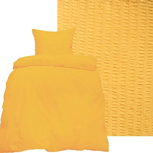 KH-Haushaltshandel 2-TLG. Seersucker Bettwäsche 135x200 +80x80cm, Uni einfarbig, pastellgelb, Reissverschluß, bügelfrei, Microfaser (60287)