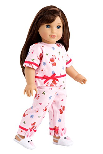 - Perfect Sleepover - Pink Cozy Pajama with White Bunny Slippers - Clothes Fits 18 Inch American Girl Doll (Perfect Bedding Set Sold Separately) (Doll Not Included)