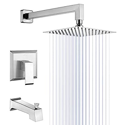 "HOMELODY Shower Trim Kit Brushed Nickel(Valve Included) Tub and Shower Faucet Set Stainless Steel Shower System with 8"" Touch-Clean Rainfall Shower Head, Bathtub Faucet Set"