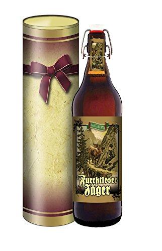 Jäger Bier 1 Liter Flasche mit Bügelverschluss in der Geschenkdose im Schleifendesign