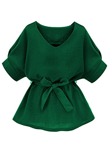 Milumia Women's Casual V Neckline Self Tie Short Sleeve Petite Plus Size Work Office Blouse Tunic Tops Green Medium