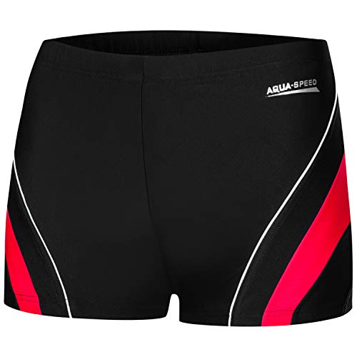 Aqua Speed Kurze Enge Badehosen Erwachsene | Kasetnbadehose für Herren I Schwimmhose Männer | Mens Swimwear I UV Badepants I Swim Trunks Slim I Wasserball I Dennis, Gr. XL, 16/Black red