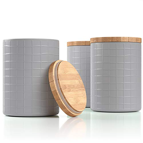 """Barnyard Designs Kitchen Canisters with Bamboo Lids Airtight Metal Canister Set Coffee Sugar Tea Flour Storage Containers Farmhouse Kitchen Decor Cool Grey 525"""" x 675"""" Set of 3"""