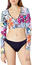 BCBGeneration Women's Crop Rashguard Swimsuit Top, Multi//Sun Daze, L