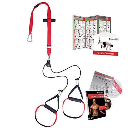Variosling® Sling Trainer mit Umlenkrolle mit Griffschlaufen inkl. 2X Schlingentrainer DVD, Türanker, Poster Made IN Germany (Rotate)