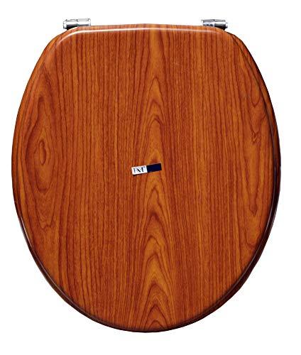 BM 4114 Copriwater Sedile Tavoletta WC Universale Coperchio Toilet Seat Bagno in MDF Marrone Legno Noce