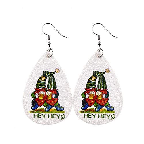 Seguire St Patricks Day Green Drop Shape Printing Earrings Green Lucky Earring Ear Studs, Shamrock, Leprechauns, Green Beer Irish Teardrop Earrings for Women Girls Jewelry Accessory
