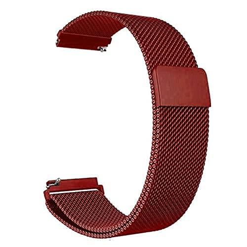 Correa magnética de metal para reloj de malla milanesa con cierre rápido para mujeres y hombres, 16 mm, 18 mm, 20 mm, 22 mm, 24 mm (rojo, 16 mm)