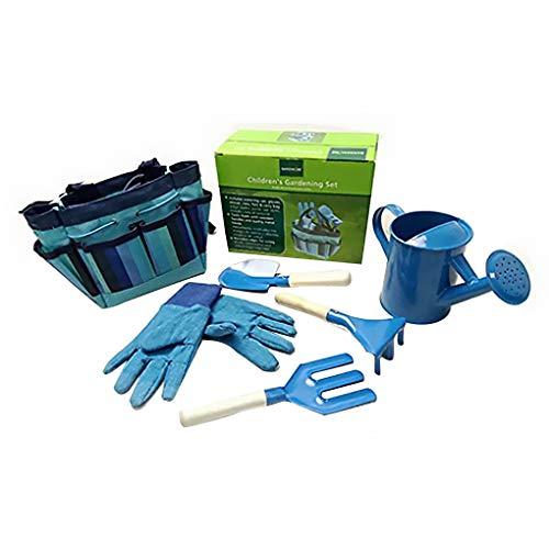 on brand DANDANdianzi Enfants Jardinage Arrosage Outils de Jardin Set arrosage Enfants Eau Pot Harrow Fourche Spade Jardinage Kit Gants, Bleu