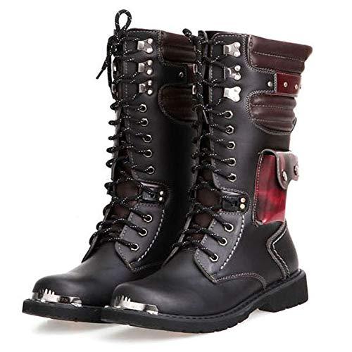 NSST Martin-Stiefel für Herren, aus echtem Leder, wasserdicht, Militär, Gothic, Steampunk, Motorradschuhe, Westernstiefel, Uniform, 44