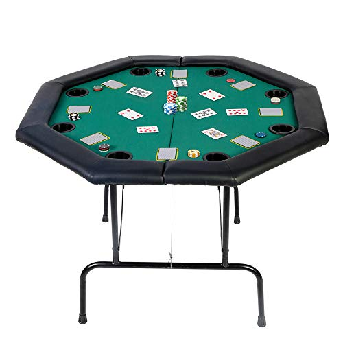 Koreyosh Poker Table Folding Casino Poker Table Texas Hold'em Poker Table Top Board Game Table with Cup Holder (Poker Table for 8 Players)
