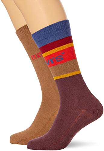 Levi's Unisex-Adult Colour Block Stripe Regular Cut (2 Pack) Sock, Bordeaux, 39/42 (2er Pack)