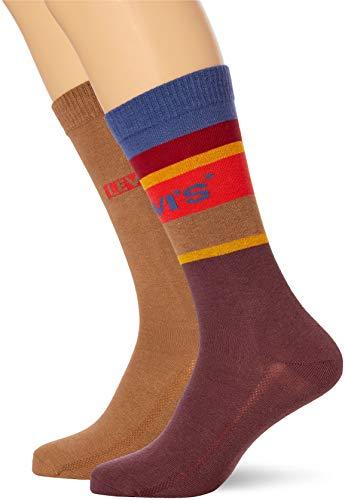 Levi's unisex-adult Colour Block Stripe Regular Cut (2 pack) SOCK, Bordeaux, 43/46 (2er Pack)