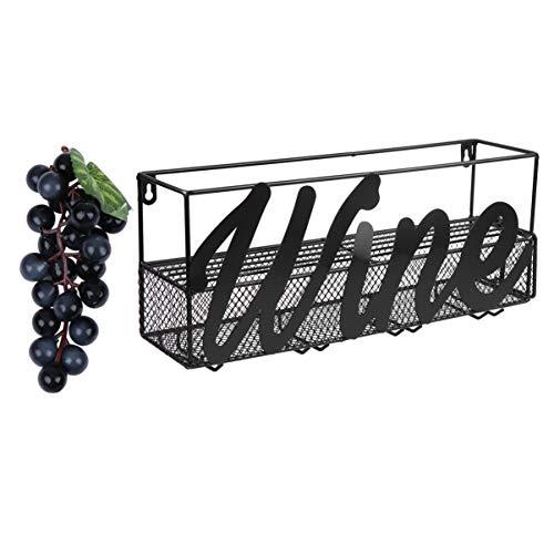 Hemoton Estante de Vino de Metal Montado en La Pared Botella de Vino Titular de Vidrio con Letra para La Tienda Champán Rojo Blanco Decoración de La Cocina del Hogar