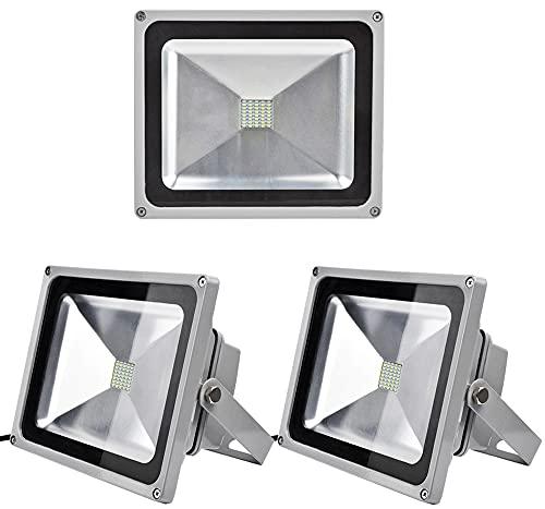Leetop 3pcs LED Projecteur Extérieur 30W LED Spot,Eclairage de Sécurité,Étanche IP65,Lumiere Blanc Froid(6000K-6500K) pour Jardin,Cour,Terrasse
