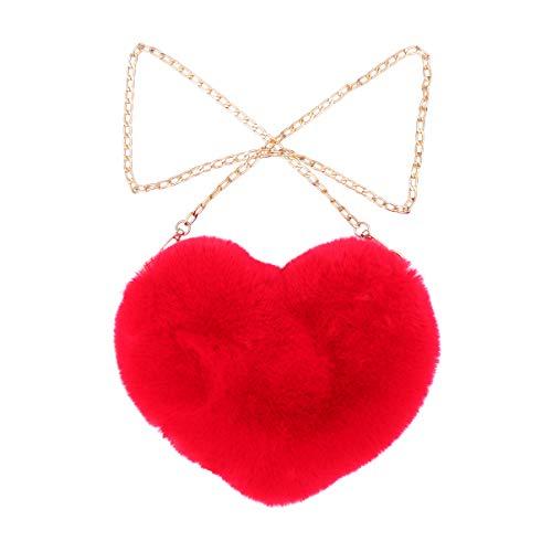 TENDYCOCO borsa a forma di cuore borsa a tracolla in ecopelliccia borsa a tracolla soffice borsetta