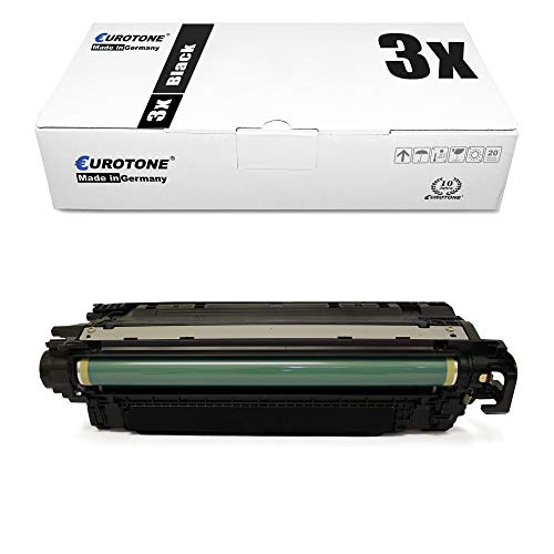 3X Eurotone kompatibler Toner für HP Color Laserjet Enterprise CM4540MFP CM4540fskm CP4525 CP4525dn CP4025DN CP4525n CM4540 wie CE260A 647A Black
