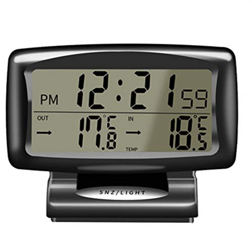ShenyKan Multifunktionales 2-in-1 12V Auto Auto LCD Digitaluhr Thermometer Temperatur Spannungsmesser Monitor