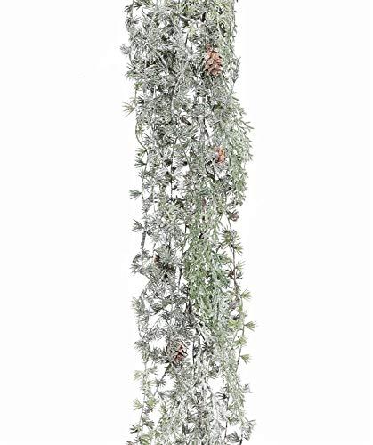 Künstliche LÄRCHENGIRLANDE GEEIST ca 125 cm mit Natur- Zapfen. GEFROSTET.