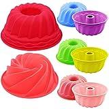 Fiyuer Stampo per Torta 8 PCS gugelhupf stampi per Dolci in Silicone Mini teglie per Muffin e Cupcake per Dolci da Cucina Pane Cottura budino 3 Taglie