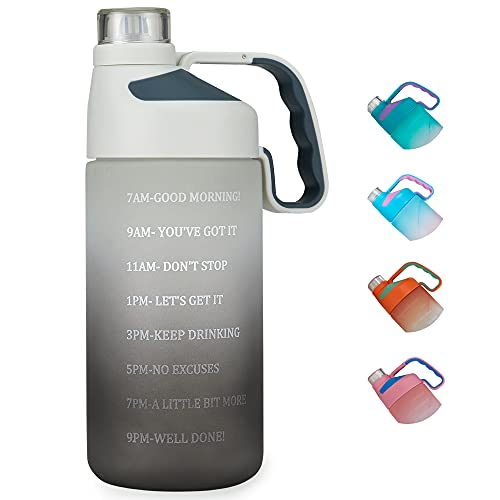 EAILGORL Water Bottles with Motivational Time Marker & Straw Leakproof BPA Free Reusble Flip Top Water Bottle for Sports and Fitness Enthusiasts (A3-White/Gray Gradient)