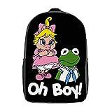 Muppet Babies - Kermit & Miss Piggy - Oh Boy - White Font 3D Anime School Bag with mesh pocket Unisex Fashion Black bag Travel Laptop Backpack 17 inch
