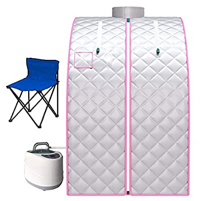 Portable Steam Sauna Spa, 2L Personal Home Spa with Remote Control, Steam Pot and Folding Chair for Weight Loss Detox Reduce Stress Fatigue