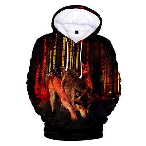 NHFVIRE New Wolf 3D Printed Pullover Männer Frauen WolfHoodie Sweatshirts Art und Weise Harajuku-Jacken-Mantel 3dwy-700 L