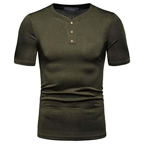 Xmiral Kurzarmshirt Herren Einfarbig Knopf V-Kragen Kurzarm T-Shirt Sport Oberteile Slim Fit Tops Short Sleeve Shirt Casual Tee Pullover Bluse Poloshirt (Armee Grün,L)