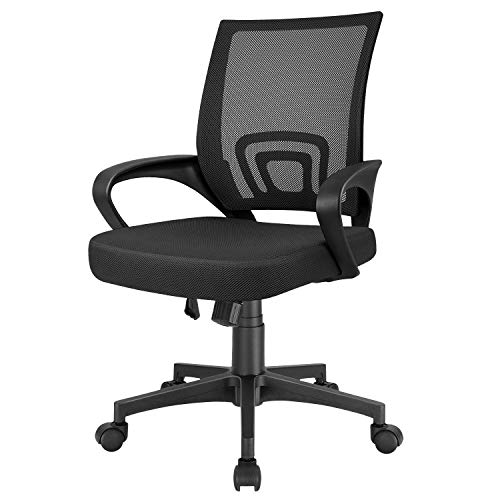 Furmax Mesh Computer Desk Swivel Ergonomic Lumbar Support Home Office Task Chair, Black