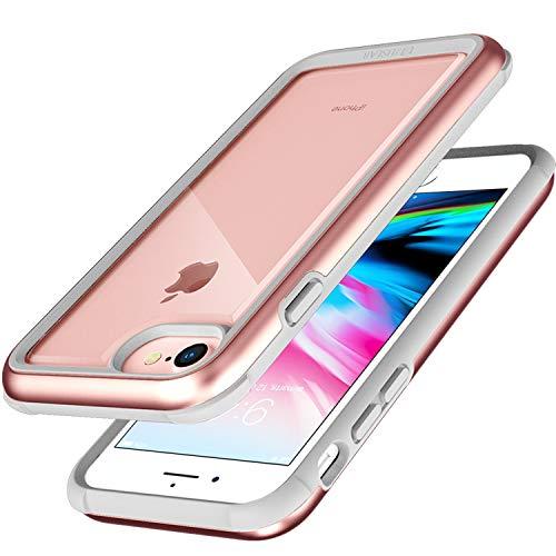 ZUSLAB Funda iPhone 6, Funda iPhone 7, Funda iPhone 8 Funda Transparente con Parachoques de Silicona y Marco de Aluminio, Cubierta Híbrido Carcase Rígido para Apple - Oro Rosa
