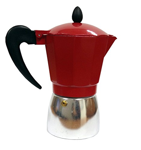 IMUSA USA B120-43T Aluminum Stovetop Coffeemaker 6-Cup, Top, Silver/Red