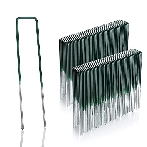 GardenMate 100 Grapas de sujeción para césped Artificial de Alambre de Acero galvanizado al Fuego | 150 mm Largo, 25 mm Ancho, 2,9 mm Grosor | Color Verde y Cabeza Plana