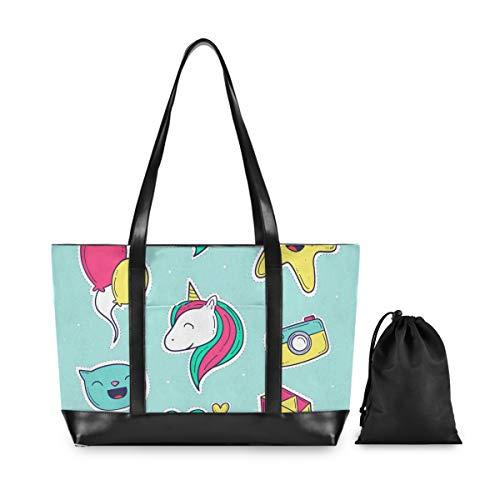 FANTAZIO Hello Einhorn Laptop Tragetasche passend für 39,6 cm (15,6 Zoll) Laptop, leichte Canvas Tote Bag Umhängetasche