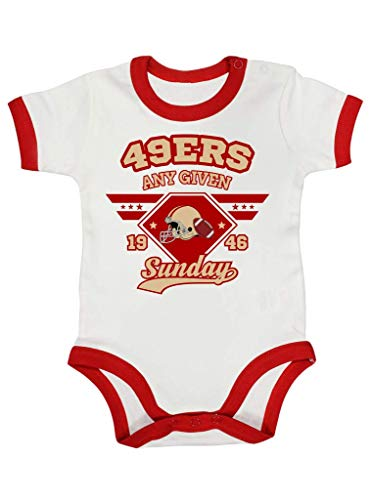 49er Any Given Sunday American Football Forty-Niners San Francisco Premium Ringer Babybody Kurzarmbody, Größe:3-6 Monate, Farbe:Weiß Rot (White Red BZ19)