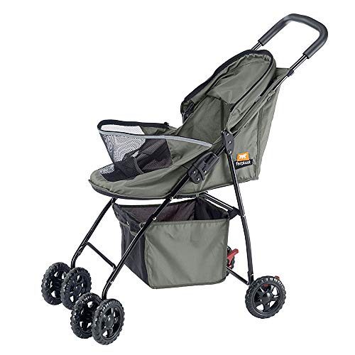 Ferplast Stroller for small dogs GLOBETROTTER Folding stroller for small-sized dogs Trolley for pets maximum 9 Kg, Opening sunroof, Fully foldable, Equipped with basket and wheels, 80 x 42 x h 95 cm