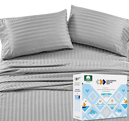 Pure Cotton King Size Sheets - 4 Piece Sateen Weave Bed Set, Light Gray Color Damask Stripe, Long Staple Combed Cotton for Premium Comfort, Deep Pocket Fits Low Profile Foam and Tall Mattresses