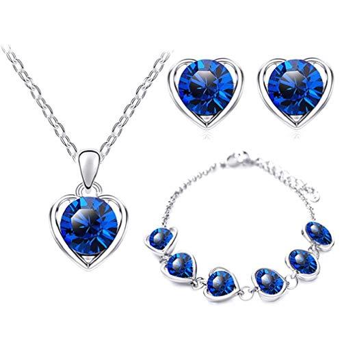 Collar de Moda, keattl 1Juego de Collar Pendiente–Pulsera para Moda Mujeres Elegantes Collar Colgante de Corazón de Cristal + Pendientes + Pulsera Azul Oscuro