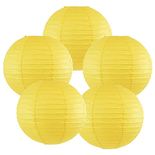 """Just Artifacts 12"""" Lemon Yellow Chinese Japanese Paper Lanterns (Set of 5) - Click for more Chinese/Japanese Paper Lantern Colors & Sizes!"""