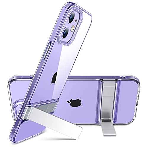 """ESR Metal Kickstand Case Compatible with iPhone 12 Case/Compatible with iPhone 12 Pro Case (2020) [Patented Design] [Two-Way Stand] [Reinforced Drop Protection] Flexible TPU Soft Back, 6.1"""" - Clear"""