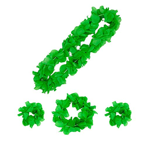 KID2 Shamrock Garland Set for st Patricks Day Decorations Hawaiian Luau Flower Leis Jumbo Necklace Bracelets Headband Set (ShamrockGreen)