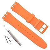 Cinturino per Swatch, impermeabile, in gomma siliconica (19mm, Orange)