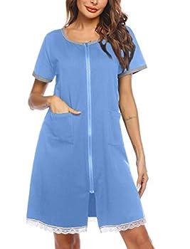 Ekouaer Women s Sleepwear Zip Front Duster/Short Sleeve Duster/Housecoat/House Dress/Nightgown