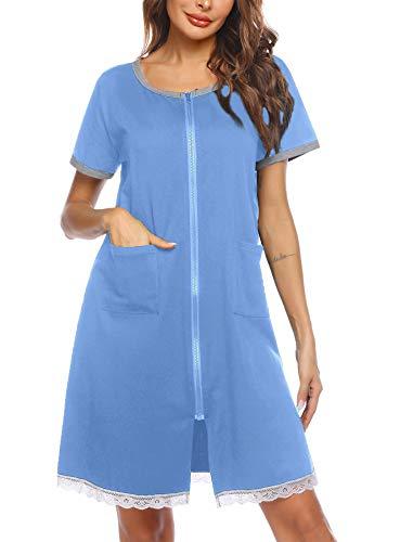 Ekouaer Women's Zip up Short Nightgown Short Sleeve Sleepwear Knee Length Sleep Shirt with Pockets