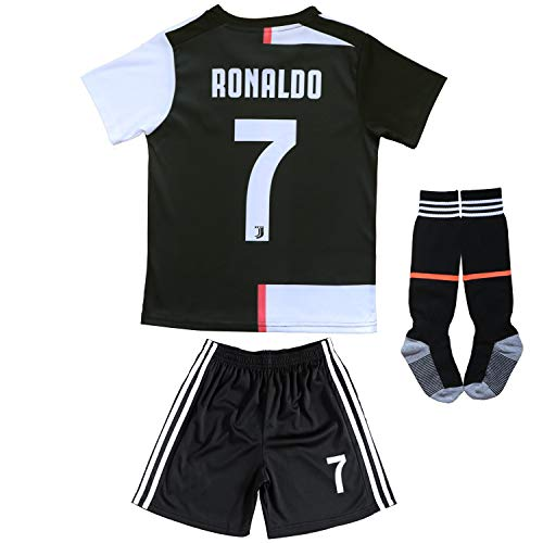 FCRM 2019-2020 New #7 Kids Home Soccer Jersey & Shorts Youth Sizes (White/Black, 8-9 Years)