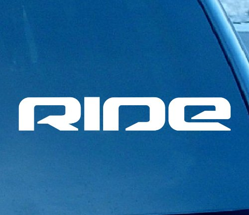 """Ride Snowboard Skateboard Car Window Vinyl Decal Sticker 6"""" Wide (Color: White) -  Decal Dude, RSS"""