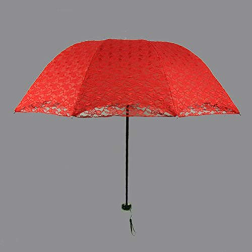 FLLXSMFC Sombrilla de 88 cm rojo soleado lluvia paraguas plegable lluvia sol encaje bordado paraguas tres pliegues