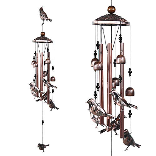 ARARTKEL Wind Chimes 4 Hollow Aluminum Tubes 5 Wind Bells 7 Birds Wind Chime with S Hook for Indoor and Outdoor Porch Decor Deep Tone