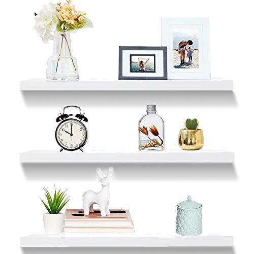 GDORUN 3Pack White Floating Shelves Wall Mounted,Storage Shelves Display...
